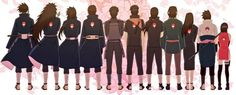 From Left: Uchiha Tajima, Madara, Izuna, (?),  Shisui, Obito, Fugaku, Mikoto, Sasuke, Sarada
