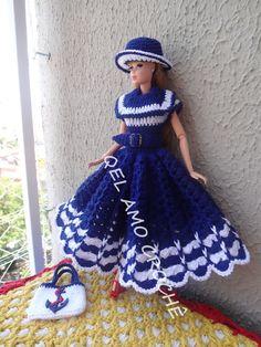 #Doll #Crochet #Vestido #Dress #Barbie #Chapéu #Hat #RaquelGaucha #Marinheiro #Muñeca