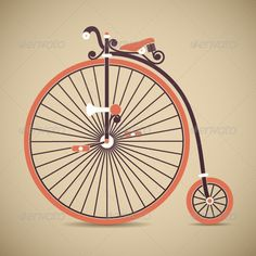 Penny Farthing Antique Bicycle Vector