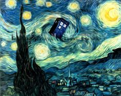 Doctor Who van Gogh parody Starry Night TARDIS art print 8x10, 16x20, 24x30