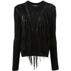 ROBERTO CAVALLI fringed sweater ($896) ❤ liked on Polyvore featuring tops, sweaters, black top, roberto cavalli, black long sleeve top, black fringe top and fringe top