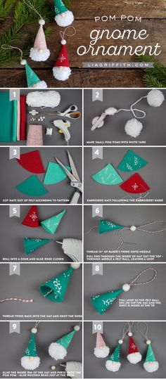 Pom Pom Gnome Ornaments - Lia Griffith