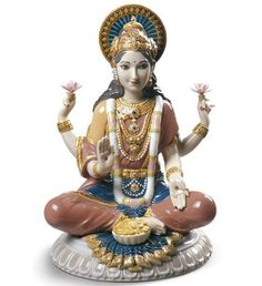 Lladro 09229 GODDESS SRI LAKSHMI http://www.lladrofromspain.com/0gosrila.html  Issue Year: 2016  Sculptor: Raul Rubio  Size: 22x18 cm  #lladro #goddess #srilakshmi #lakshmi #porcelain
