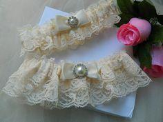 Wedding garter set Ivory Raschal lace by GartersByTania on Etsy, $32.00