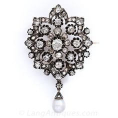 Early Victorian Diamond Brooch/Pendant with Natural Pearl Drop - 50-1-2644 - Lang Antiques