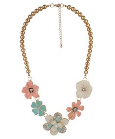 Floral Bib Beaded Necklace