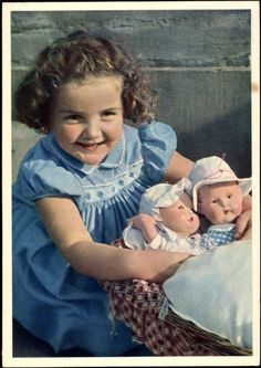 Postcard / Post Card Young Girl with her two dolls, dolls' carriages