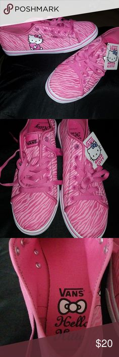 Vans- Hello Kitty Nwt. Hello kitty Van's. Adorable Mrs. Kitty adorns side of shoes  near van tag. Fun pink zebra print. Post will stay active for 10 days. Vans Shoes