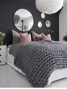 love this bedroom idea. perfect for a teen girl. like the colours and chunky kni… love this bedroom idea. perfect for a teen girl. like the colours and chunky knit blanket on the bed Cute Bedroom Ideas, Room Decor Bedroom, Bedroom Decor, Girl Bedroom Designs, Stylish Bedroom, Room Makeover, Room Ideas Bedroom, Woman Bedroom, Bedroom Design