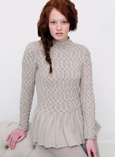 Wavy Peplum Sweater | Knitting Fever Yarns & Euro Yarns Creative Cables hardcover book