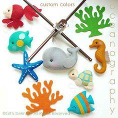 Gifts Define - Custom Handmade decorative Baby Mobile, Sea Theme Decor, Under the Sea theme Nursery, Musical baby Mobile