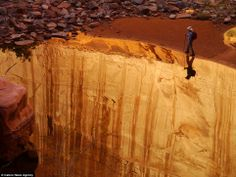 On the edge: The hiker in the photograph taken by Darrell Staggs appears to be walking alo...