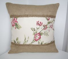 Red Flowers Burlap Canvas Pillow Cushion Cover 16 by anettascraft, £19.50