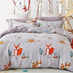 Unusual Flame Orange White and Light Blue Jungle Safari Animal Themed Fox Print Teen Boys Girls Twin, Full Size Cotton Bedding Sets - Free Shipping