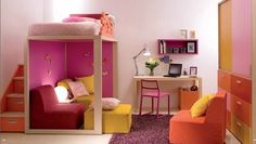 Just love the loft bed with private area underneath Sweet Girls Bedroom furniture Collection from Dearkids