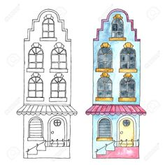 Watercolor Cartoon Buildings. Stock Photo, Picture And Royalty Free Image. Image 45858307.