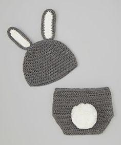 Look at this #zulilyfind! Gray Bunny Crochet Beanie & Diaper Cover by chéri by Bébé Oh La La #zulilyfinds