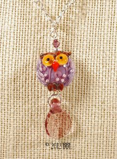 $38  Purple Autumn Owl Pendant - Handmade lampwork art beads, jewelry & supplies by Bastille Bleu Lampwork. $38.00, via Etsy.