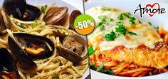 Restaurante Amore - $78 en lugar de $155 por 1 Linguini con Almejas ó 1 Pechuga de Pollo a la Parmesana Click http://cupocity.com/