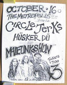 MALFUNKSHUN Metropolis 1983 CONCERT Flyer HUSKER DU Pearl Jam DERANGED DICTION
