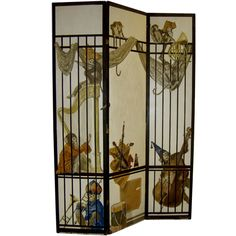 French Hand Painted Signed Screen Background with Monkeys in a Band | From a unique collection of antique and modern screens at http://www.1stdibs.com/furniture/more-furniture-collectibles/screens/
