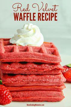 Red Velvet Waffles Recipe Treat your loved ones to a special breakfast with this colorful Red Velvet Waffle recipe! Perfect for Valentine's Day, Christmas, or for anyone who loves Red Velvet Cake. Red Velvet Waffles, Red Velvet Cake, Brunch Recipes, Breakfast Recipes, Dessert Recipes, Desserts, Mexican Breakfast, Pancake Recipes, Crepe Recipes