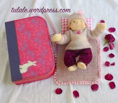 "OOAK natural art cloth 12"" baby doll Waldorf inspired, clothes made of alpaca wool, mohair, linen, cotton, dolls set with suitcase"