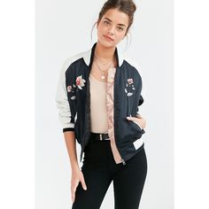 Silence + Noise Stays On Tour Satin Bomber Jacket ($159) ❤ liked on Polyvore featuring outerwear, jackets, color block jacket, flight jacket, bomber jacket, blouson jacket and colorblock bomber jacket