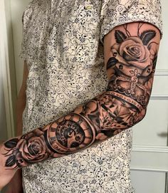 125 Best Sleeve Tattoos For Men: Cool Ideas + Designs Guide), Rose Crown Pocket Watch Sleeve Tattoo For Men - Best Sleeve Tattoos For Men: Cool Full Sleeve Tattoo Ideas and Designs Rose Tattoos For Men, Arm Tattoos For Guys, Tattoos For Women, Best Sleeve Tattoos, Tattoo Sleeve Designs, Forearm Tattoos, Hand Tattoos, Octopus Tattoos, Grace Tattoos