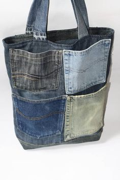 Recycled denim bag tote bag for daily use. This denim bag is designed out of the… Recycled denim bag tote bag for daily use. This denim bag is designed out of the best denim parts its have vintage look. Jean Crafts, Denim Crafts, Upcycled Crafts, Repurposed, Diy Jeans, Sewing Jeans, Denim Tote Bags, Denim Bags From Jeans, Diy Denim Purse