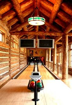 Home bowling alley - log cabin style