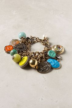 Cameo and bead charm bracelet
