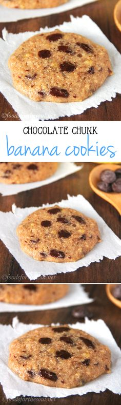 Chocolate Chunk Banana Cookies -- these clean-eating cookies don't taste healthy at all! Barely 100 calories!