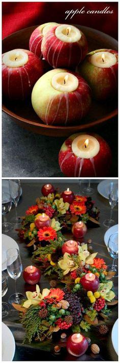 Tischdeko mit Äpfeln und Kerzen