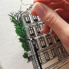 Working on the greenery 🌿🌱☘️🍀 . . . #embroideryart #handmadeart #handembroidery #handmadeembroidery #broderie #embroidery #bordado #paris #juliachild #processart #wip #workinprogress #details #detailshot #needlework #stitching #architectureart #commissionart #embroideryartist #lekadre #craftsposure