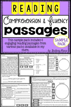 FREEBIE! Free reading comprehension and fluency passages sample pack!