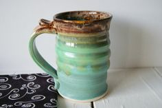 Handmade Mug Pottery Coffee Mug in Green and by riverstonepottery, $25.00