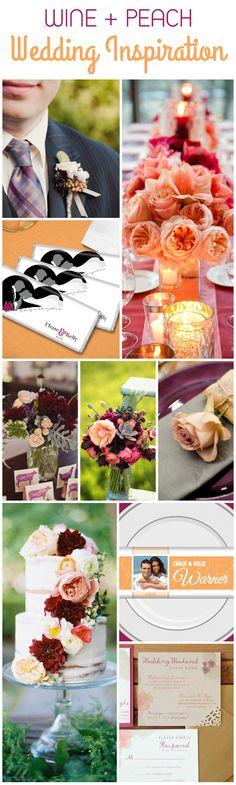Unique Wedding Color Combinations: Peach and Wine Wedding Inspiration Unique Wedding Colors, Wedding Themes, Unique Weddings, Wedding Events, Wedding Decorations, Wedding Ideas, Outdoor Weddings, Wedding Stuff, Wedding Dresses