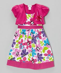 Take a look at this Raspberry Floral Dot Trim Dress & Shrug - Infant, Toddler & Girls on zulily today!