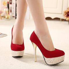 2016 Moda Mulher Bombas Dos Saltos Altos Stiletto Salto Fino das Mulheres sapatos Dedo Do Pé redondo sapatos de Salto Alto Sapatos de Casamento Plataforma Sexy vermelho preto