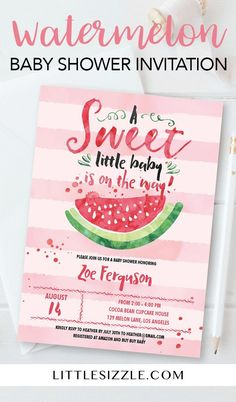 Summer baby shower invitation for girls by LittleSizzle. Are you hosting a summer babyshower to celebrate the arrival of a baby girl? Make the cutest announcement with this watermelon baby shower invitation template. You guests will be delighted when they Diy Baby Shower Decorations, Baby Shower Themes, Baby Shower Gifts, Shower Ideas, Baby Shower Invites For Girl, Diy Decoration, Baby Shower Watermelon, Its A Girl Announcement, Baby Shower Invitaciones