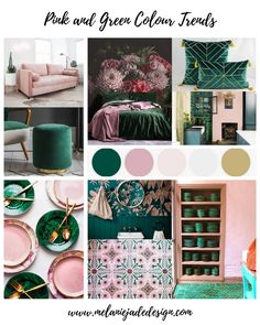 Colour Trends – Pink and Green Should Always Be Seen — Melanie Jade Design Pink Green Bedrooms, Bedroom Green, Pink Room, Green Rooms, Tropical Bedrooms, Bedroom Colour Palette, Bedroom Colors, Bedroom Decor, Green Colour Palette