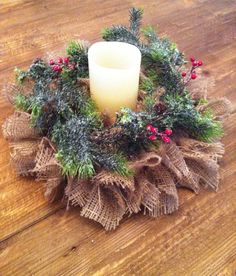 Christmas/Winter Burlap Centerpiece. Can change is up for Fall