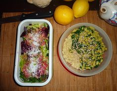 Lunch Box : Salade et Betterave, Quinoa, Flageolets et Epinards.