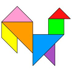 Tangram Rooster - Tangram solution #68 - Providing teachers and pupils with tangram puzzle activities