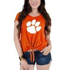 Clemson Tigers Women's Amanda Tie T-Shirt - Orange