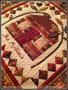 Family Estate Pattern by Edyta Sitar - sewn and quilted by Mua...  Love this little piece. Welcome Autumn - Finishes - A Giveaway!