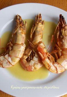 Γαρίδες στο γκριλ - cretangastronomy.gr Greek Recipes, Shrimp, Grilling, Salad, Meat, Healthy, Food, Crickets, Essen