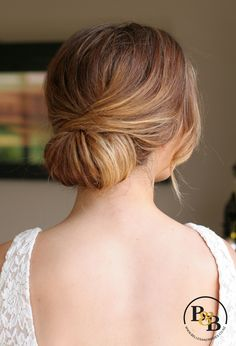 wedding hair low chignon / casual bridal chignon / soft romantic wedding hair