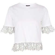 Topshop Petite Lace Ruffle T-Shirt (105 SAR) ❤ liked on Polyvore featuring tops, t-shirts, white, white crop top, white lace t shirt, petite t shirts, flutter sleeve top and basic white t shirt